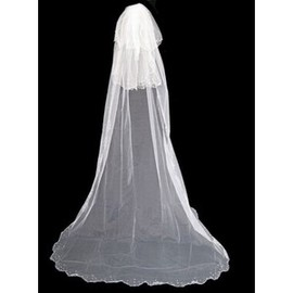 Elegant | Modest Luxurious Brush Train Wedding Veil