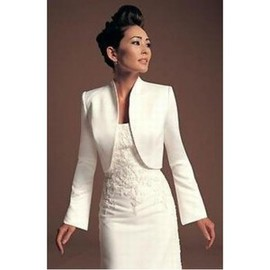 White Taffeta Modest Simple Bolero