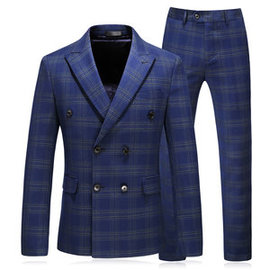 New Men Jacket + Vest + Pants Checkered Double-breasted Shop Wedding Suit