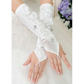 Satin With Application White Chic Bridal Gloves