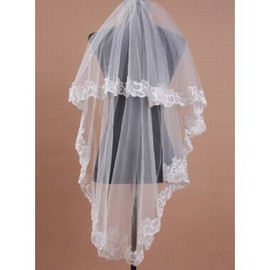 Lace Hem Modest Short Wedding Veil