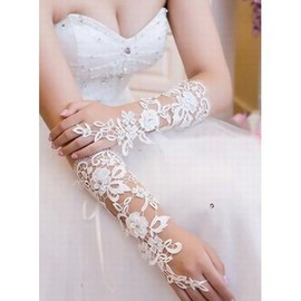 Lace Elegant White Modern Bridal Gloves