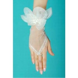 Tulle With Bowknot White Modern Bridal Gloves
