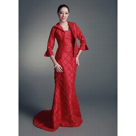 Taffeta Red Luxurious Simple Bolero