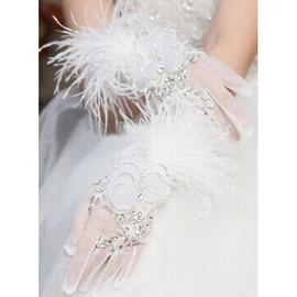 Organza With Crystal White Luxurious Bridal Gloves
