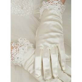Luxurious Taffeta With Crystal White Luxurious Bridal Gloves