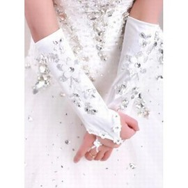 Satin With Application Modern Bridal Gloves