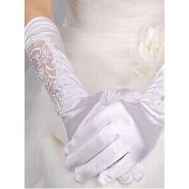 Luxurious Taffeta Beading White Bridal Gloves
