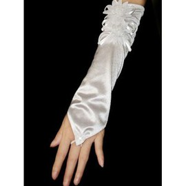 Taffeta Floral White Elegant | Modest Bridal Gloves