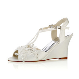 Summer Trend Wedges Actual Heel Height 3.15 Inch Bridal Shoe