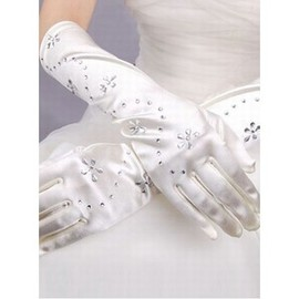 Taffeta With Crystal White Bridal Gloves