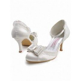 With Satin High Round Fine With Bridal Shoe