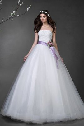 Flowers Long Court Train Ruched Strapless Wedding Dress