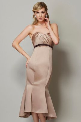 Tea Length Sheath Satin Sleeveless Prom Dress