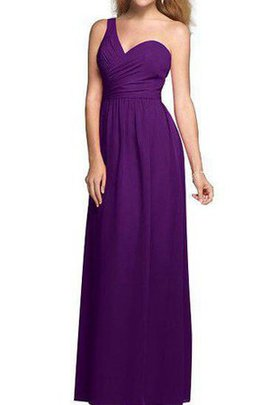 Ruched A-Line One Shoulder Floor Length Zipper Up Bridesmaid Dress
