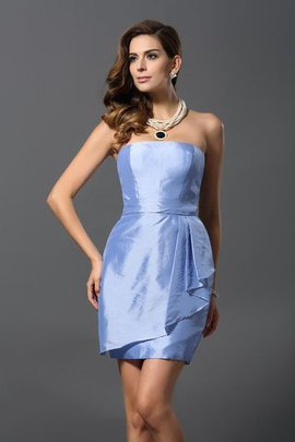 Strapless Natural Waist Zipper Up Taffeta Short Bridesmaid Dress
