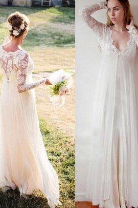 Fashionable Sheer Back Inverted Triangle Simple Empire Embroidery Outdoor Wedding Dress