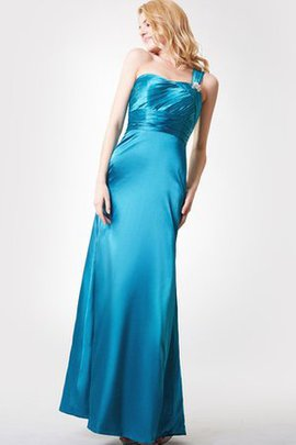Crystal Sleeveless Long One Shoulder Ruched Bridesmaid Dress