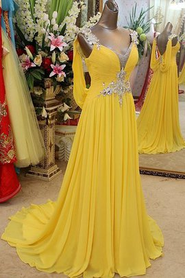 A-Line Chiffon Apple Zipper Up Beading Prom Dress
