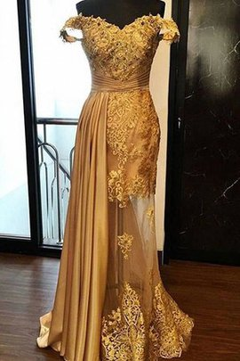 Distinctive Sheath Sweep Train Off The Shoulder Appliques Natural Waist Tulle Prom Dress