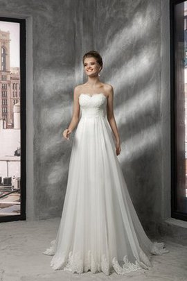 Tulle Lace-up Pleated Floor Length Strapless Wedding Dress