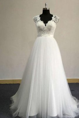 Simple Beach Sweep Train V-Neck Keyhole Back Wedding Dress