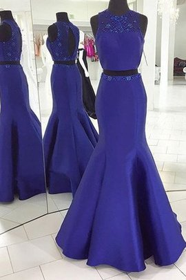 Natural Waist Floor Length Sleeveless Scoop Satin Prom Dress