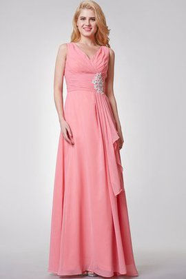 Ruched Criss-Cross Appliques Long V-Neck Bridesmaid Dress