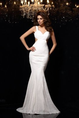 Sleeveless Mermaid Wide Straps Long Court Train Evening Dress