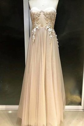 Empire Waist Tulle Attractive Empire Sweetheart Floor Length Appliques Prom Dress