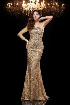 Sequins 3/4 Length Sleeves Natural Waist Mermaid Long Evening Dress