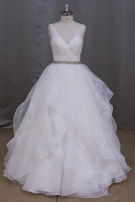 Ruched Organza Natural Waist Lace-up Sleeveless Wedding Dress