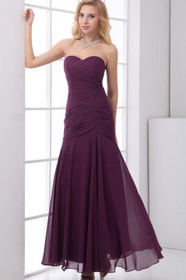 Chiffon Ruched Ankle Length Sleeveless Evening Dress