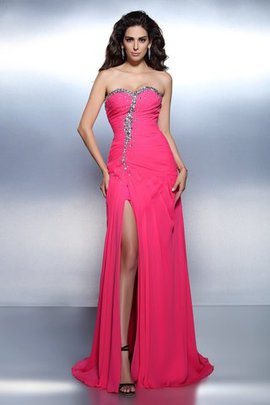 A-Line Zipper Up Sweetheart Sweep Train Sleeveless Evening Dress