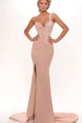 Natural Waist Sheath Split Front Appliques Floor Length Evening Dress
