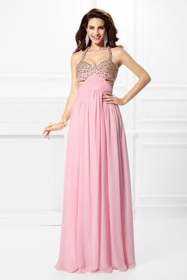 A-Line Long Beading Natural Waist Evening Dress