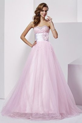Ball Gown Natural Waist Sleeveless Elastic Woven Satin Sweetheart Quinceanera Dress