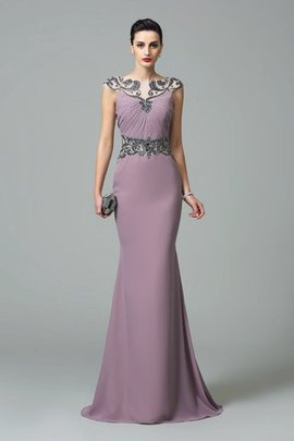 Zipper Up Empire Waist Chiffon Beading Long Evening Dress