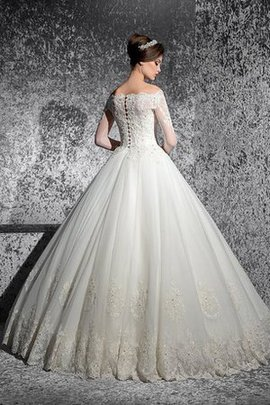 Organza Beading Vintage Ball Gown Off The Shoulder Wedding Dress