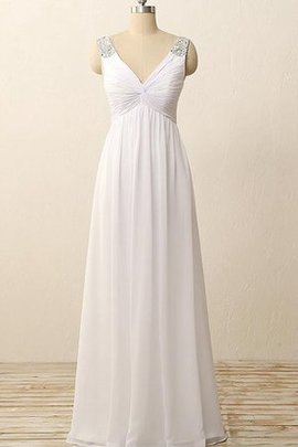 Modest Sleeveless Outdoor Simple V-Neck Wedding Dress