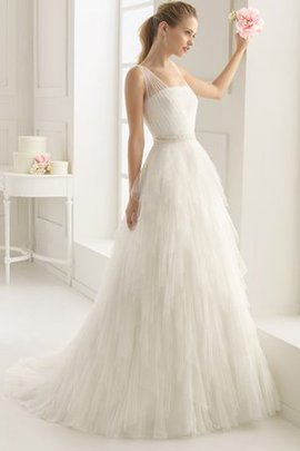 A-Line Zipper Up Spaghetti Straps Simple Sweep Train Wedding Dress