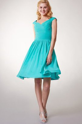 Chiffon Ruched Criss-Cross Pleated Zipper Up Bridesmaid Dress