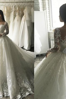 Tulle Gorgeous Appliques Romantic Puffy Hall Demure Wedding Dress