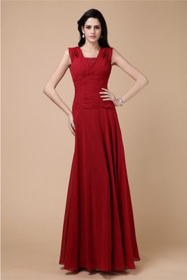 Floor Length Sleeveless Wide Straps Chiffon Draped Prom Dress