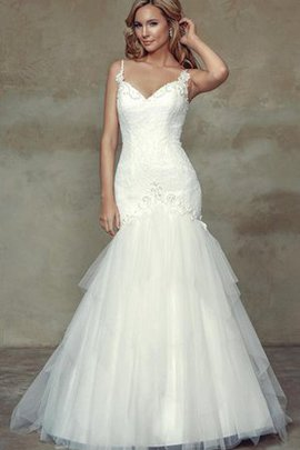 Spaghetti Straps Appliques Natural Waist Tulle Sleeveless Wedding Dress