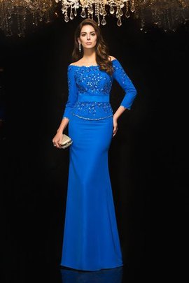 Off The Shoulder Beading 3/4 Length Sleeves Chiffon Natural Waist Evening Dress