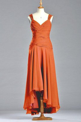 Natural Waist Sleeveless Pleated A-Line V-Neck Bridesmaid Dress