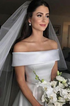 Hourglass Satin Natural Waist Excellent Romantic Sweep Train Zipper Up Wedding Dress