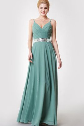 Sequins Sleeveless Long Zipper Up V-Neck Bridesmaid Dress