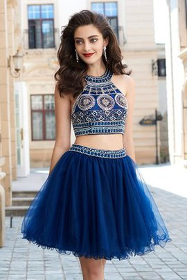 Sleeveless Short Princess Beading Natural Waist Prom Dress